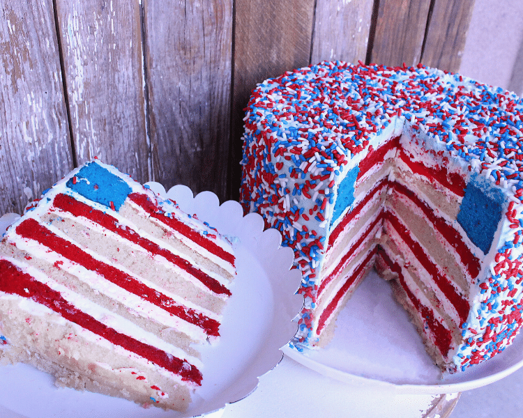 Red White and Blue Fourth of July Cake