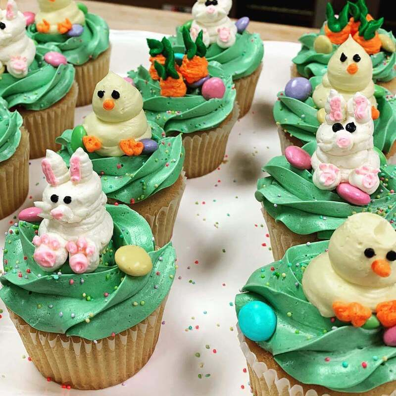 Easter cupcakes with bunny and baby chick decor