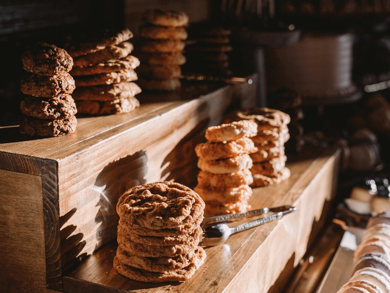 Stacks of cookies on a dessert display table