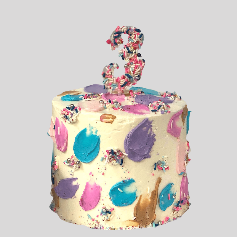 Abstract colorful birthday cake for 3 year old girl