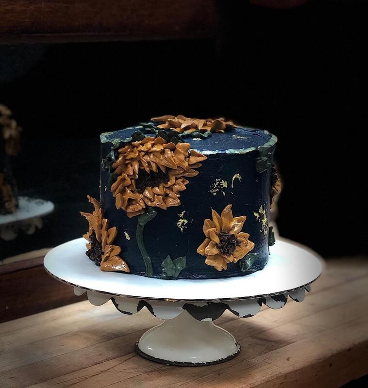 Fall-inspired 6 inch cake covered in sunflowers